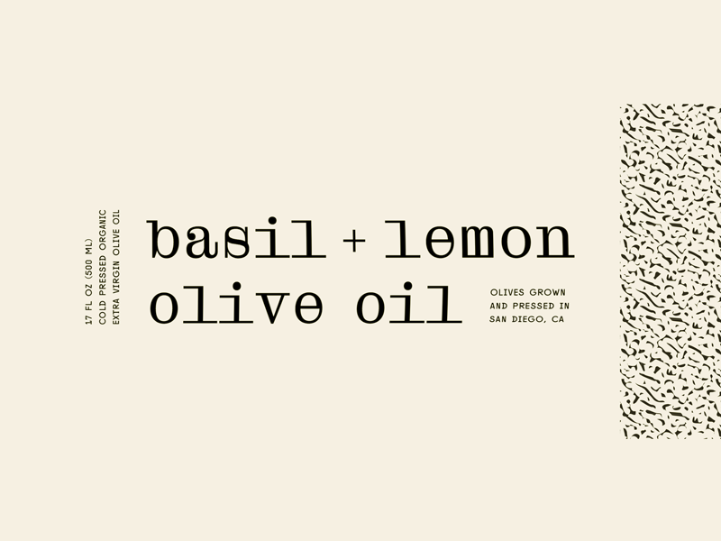 Olive Oil Closeup font pairings monospace typography packaging pattern lemon basil oil olive