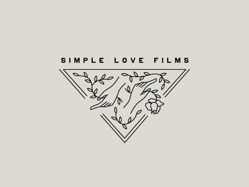 Simple Love Films vintage type leaves hands rose filmmaker videos wedding film logo