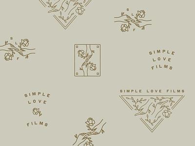 Simple Love Films Branding illustration vintage hands rose logomark branding submarks logos videos wedding filming