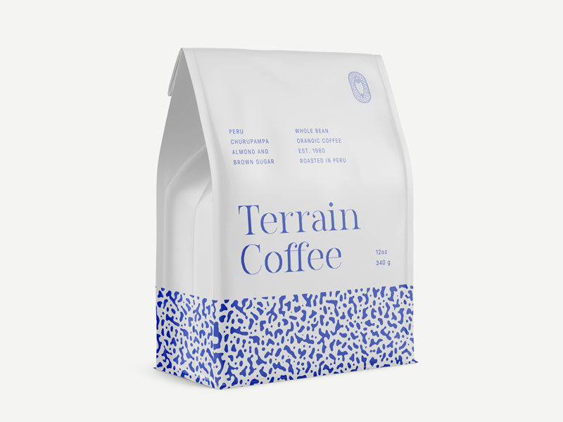 Terrain Coffee typography pattern blue food bag coffee packaging