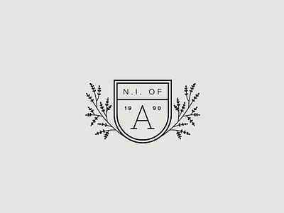Aromatics Branding collegiate arms seal botanical monogram icon badge shield logo