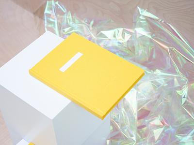 Yellow Notebook iridescent cellophane cover linen planner notebook yellow
