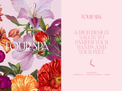 Four Spa Branding pink high-end luxury illustration floral spa wordmark logo branding
