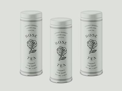 Rose Tea Packaging loose leaf layout typography rose green sage tins food tea packaging
