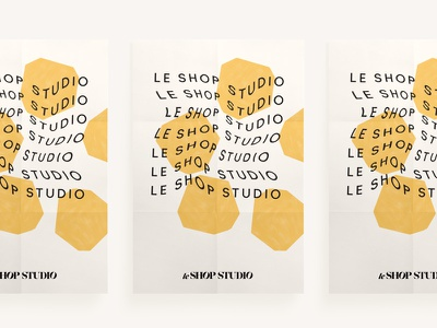 Le Shop Studio Poster color blocking branding yellow geometric flower warped typography poster