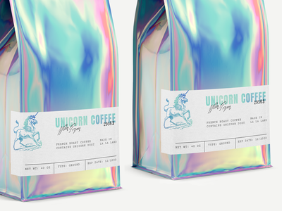 Unicorn Coffee colorful rainbow iridescent unicorn beverage packaging packaging coffee bag coffee coffee packaging
