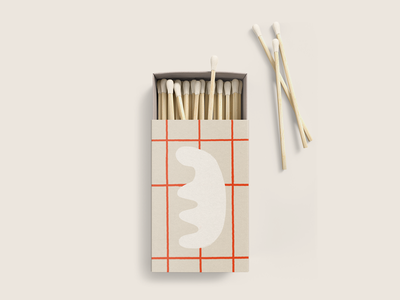 Matchbox collateral restaurant packaging mockup red grid matches matchbox