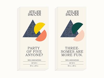 Atelier Saucier Packaging branding monogram print diecut packaging diecut box packaging box packaging napkins napkin