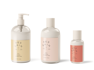 Beauty Packaging coral blush pink 3 color 3 step label packagingdesign label design bottles skin skincare beauty packaging acne