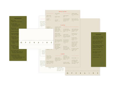 Openaire Menus restaurant branding restaurant design restaurant menu design menus
