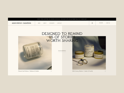 Anecdote Website typography eshop grid webdesign custom shop design shop ecommerce shopify plus shopify website candles