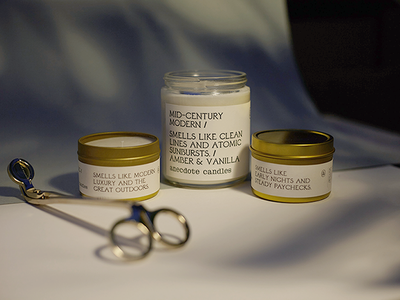 Anecdote Candles product packaging candle packaging candle typography label design label packaging design