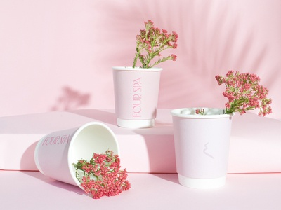 Four Spa food and beverage beverage tea logo pink branding spa nail salon packaging paper cups cups coffee