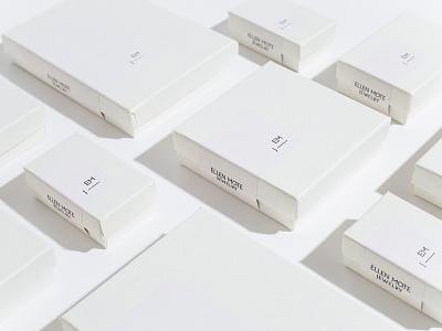 Ellen Mote Jewelry packagingdesign branding jewelry clean white minimal small gift box label packaging box jewelry box jewelry boxes