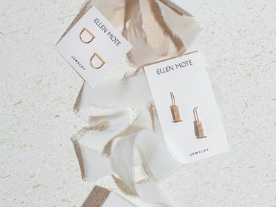 Ellen Mote Jewelry logo jewelry logo branding packagingdesign print letterpress brass earrings packaging jewelry