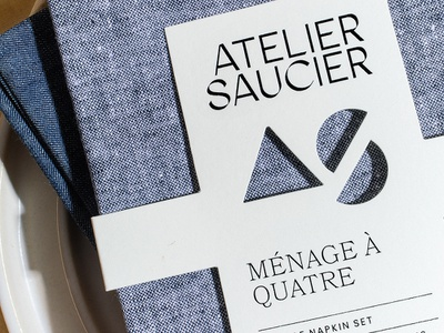 Atelier Saucier fashion clothing lifestyle linen cloth wrap diecut letterpress black foil print foil packaging napkin packaging napkins