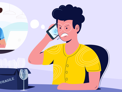 7 awful customer service phrases irritated calling angry phrases customer service awful chennai freshworks flat design vector blog design illustration