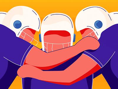 3 brain hacks to make your team huddles more productive hacks productivity flat teamhuddle game football sports collaboration chennai vector freshworks flat design design blog illustration