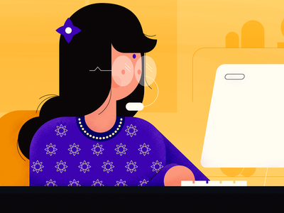 Can businesses use VoIP in India? 🇮🇳 girl illustration blog vector design freshworks photoshop stipple flat design chennai india voip businesses lady computer blue yelloy