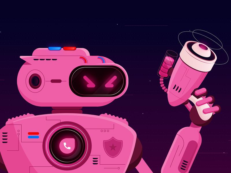 Antifraud Cop night gun police power robot fraud cop spam freshworks flat design vector blog design illustration