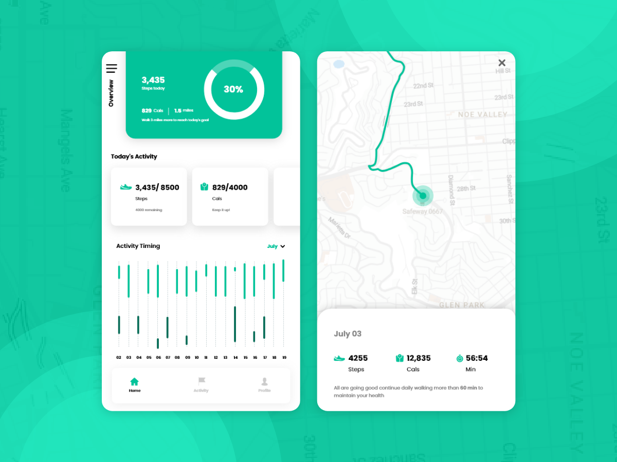Health Tracking App UI digital businesses modern clean chart app analytics uidesign morning track green mobile design android ios designer design uxui mobile ux ui