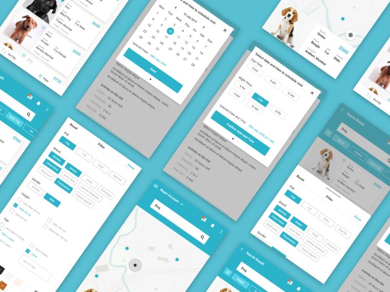 Buy and Sell Pets Online prototype concept flat design app design iphonex iphone mobile ipad web branding vector doodle ux ui design illustration