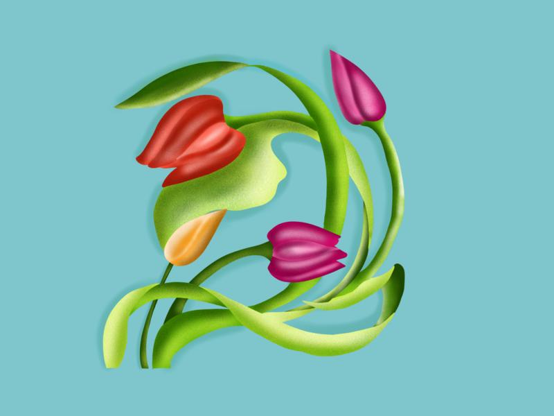 Flowers lilly flower ipad art web vector branding cartoon love sketch doodle ux design ui illustration