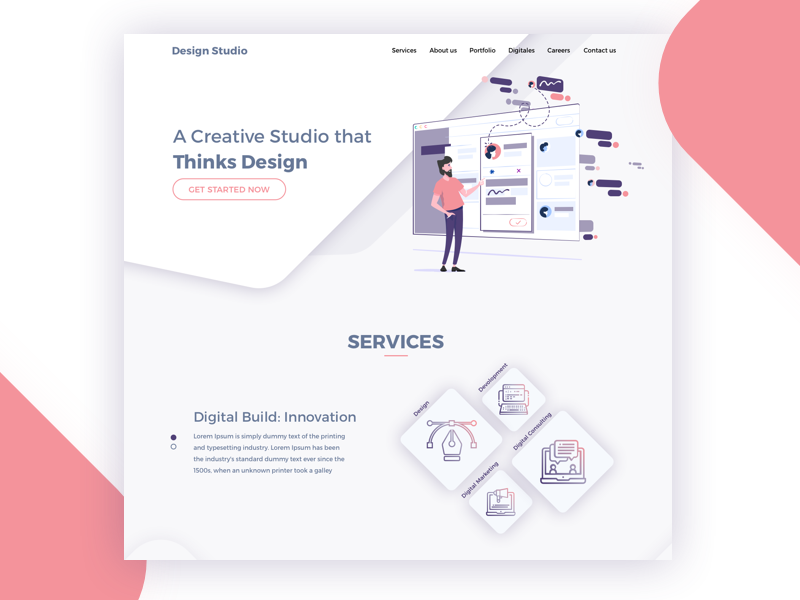 Landing page for creative studio services icons purple peach studio creative studio landing page