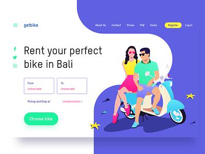 🛵 getbike.io – motorbike rental service on Bali ☀️ web ux ui page design landing illustration homepage grid clean rent bike