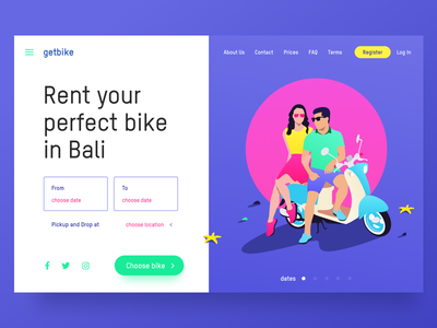 🛵 getbike.io – motorbike rental service on Bali ☀️ web ux ui service design product landing illustration homepage grid clean bike