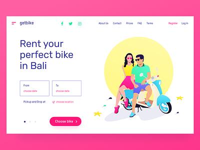 🛵 getbike.io – motorbike rental service on Bali ☀️ web ux ui service product landing illustration homepage grid design clean bike