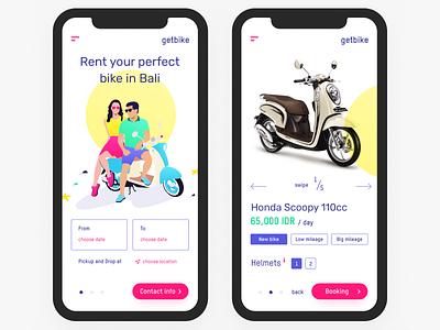 🛵 getbike.io – motorbike rental service on Bali ☀️ ux ui service design product landing illustration grid clean bike iphonex mobile