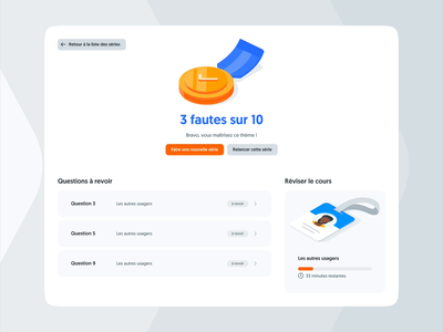 Result page quizz success illustration ux ui