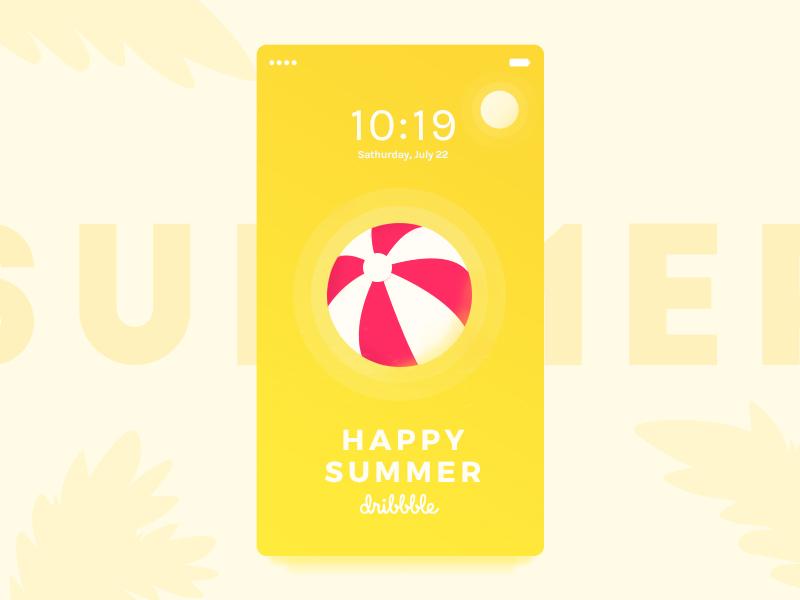 Happy Summer Dribbble☀️ beach illustration mobile gradient sun ui ux yellow coraline colasse dribbble launchscreen