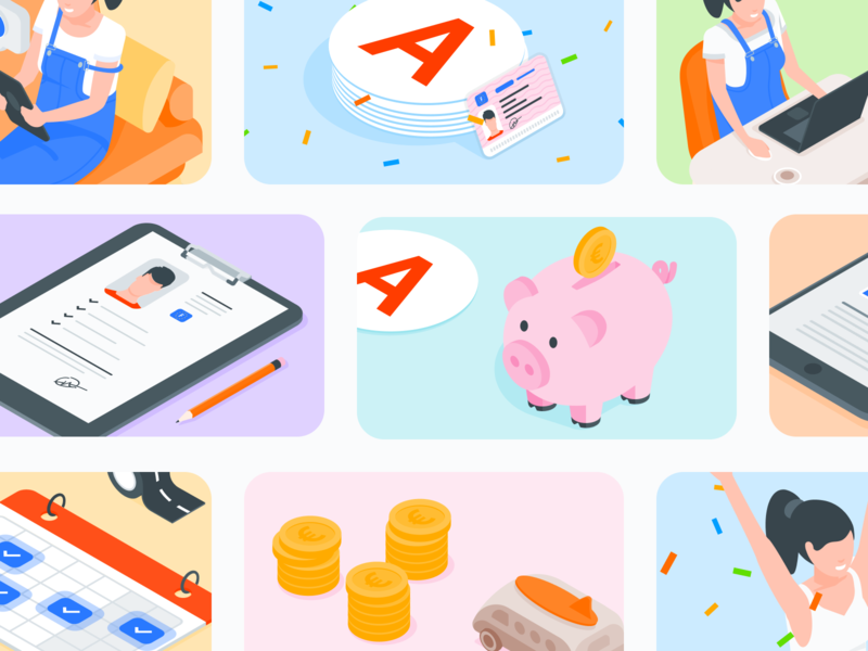 Illustrations pack for emails campaign 📩 packs rebranding driving licence isometric vector illustration ux ui