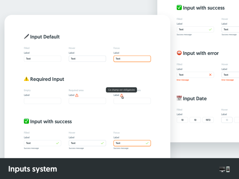 Inputs system sign in form fields inputs design system ux ui