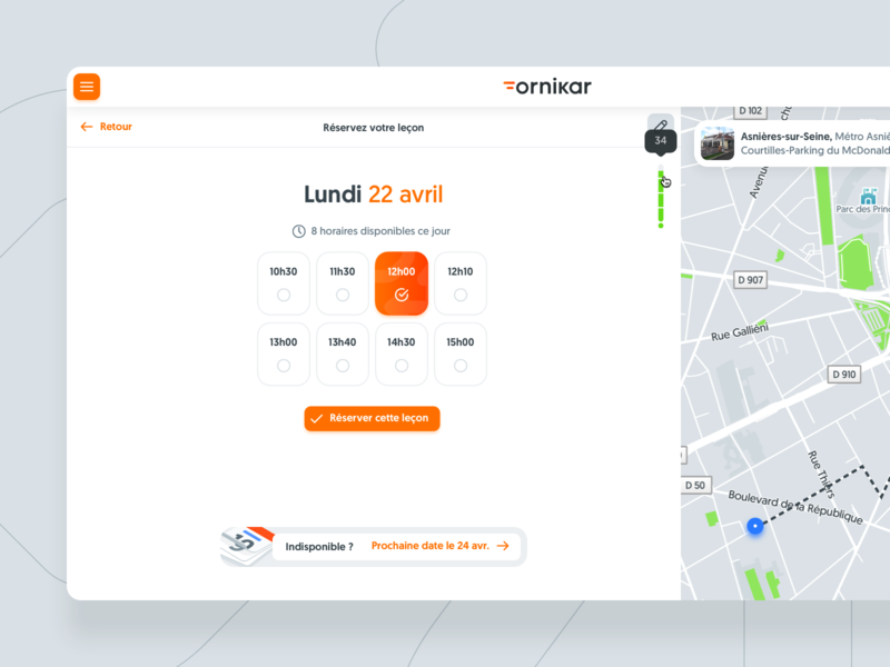👩🏻‍🍳Cooking : new booking lessons model booking hours map driving lessons branding ux ui