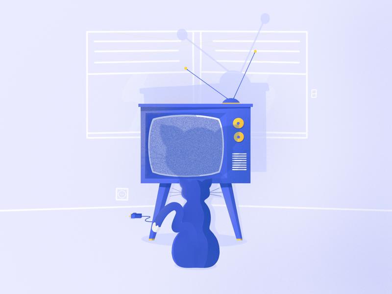 🐱📺 cat blue coraline illustration ipad pro procreate