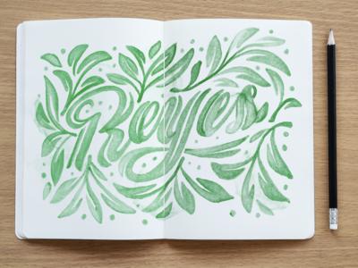 Watercolor lettering leaves type art lettermark watercolor art watercolor logotype typography illustration design sketchbook handmade lettering art green leaves lettering