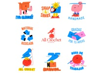 All Crochet Branding & Stickers mexico diseño branding concept telegram stickers for imessage digital art logodesign artist vector illustration personajes whatsapp characters branding design logo branding stickers