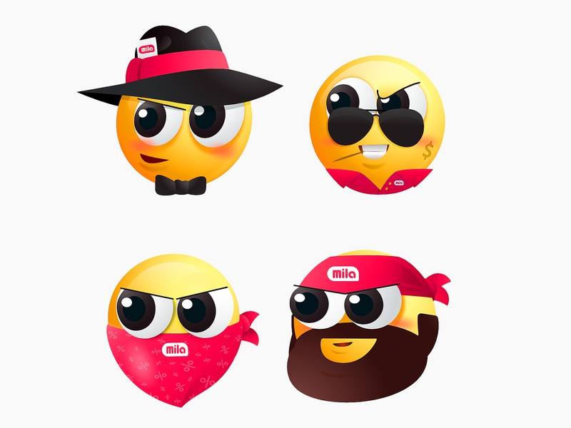 Mila Emoji Pack 2 stickermule mila poland iconos stickerpack sticker advertising marketing logo face vector illustration characterillustration gang characterdesign character stickers emojis emoticon emoji set emoji