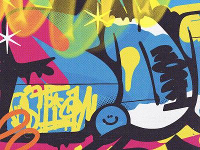 Graffiti 3000 K print streetart can art spraycan france popart design art sticker smile yellow lettering pink graffiti font type vector graphic spray graffiti digital graffiti art graffiti
