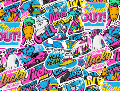 90's Stickers gif animated gif loop animation motion the nineties ninety vintage gameboy logo candy lollypop beach bunny character merch colors retro stickers