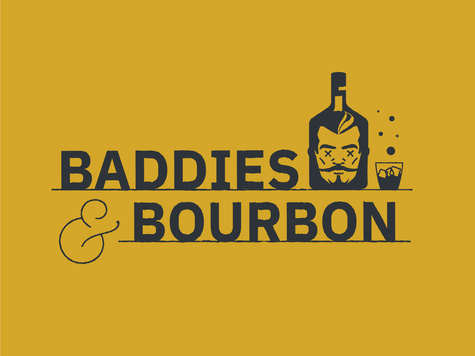 Baddies & Bourbon movies villains bourbon alcohol design illustration branding logo