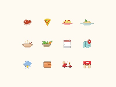 Icon set for Pizza Hut China pizza food color stroke illustration iconography icon