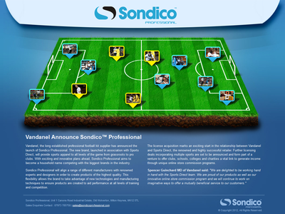 Sondico Professional Holding Page drop pins football brand holding page