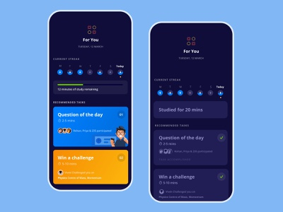 Learning habit forming tool trend 2019 learning platform learning app toppr illustations product design tracking app vector userinterface task manager habit tracker dark ui edtech clean card activity