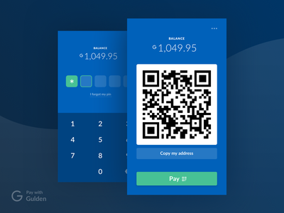 Pay with Gulden bitcoin exchange qr code ideal finance currency cryptocurrency mobile design interface gulden
