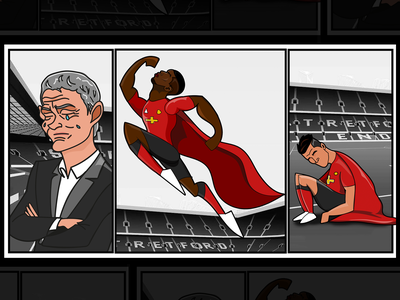 No place for Superheroes manchester united man utd coutinho pogba design character football illustration