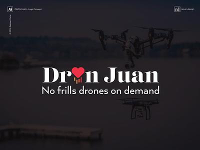 Dron Juan - No frills drones on demand - Logo Concept designer razvandesign designiasi logodesign photography love aerial drone logo